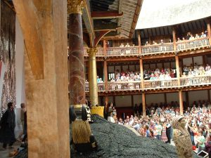 View from our position of actors receiving applause
