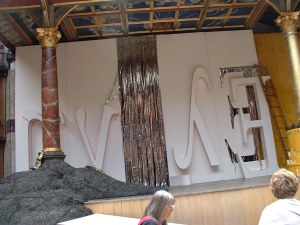 The stage, with enigmatic Egyptian earth